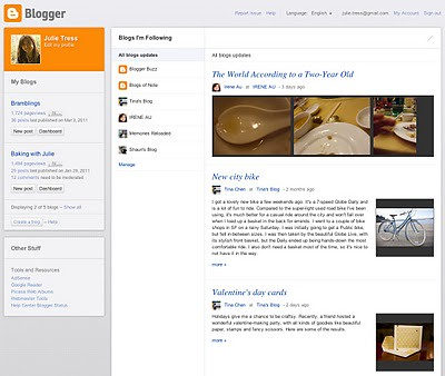 Blogger's new dashboard