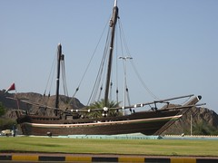 A reconstruction  of a medieval dhow that sailed from Muscat to China in an effort to replicate the voyages of Sindbad.  It now resides in a traffic circle in Muscat, Oman.