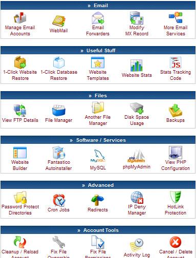 Tampilan menu CPanel 000webhost.com