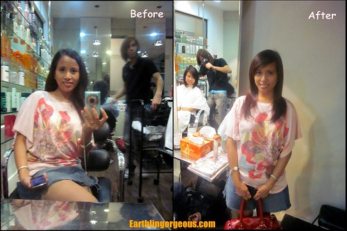 before and after the haircut and dye by Kolours Luster at Headzone