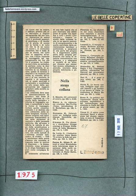 Isa Apruzzi, Birgid Rauen, Daniela Salvini, Elena Schnabl, La moglie e la prostituta: due ruoli, una condizione. Guaraldi 1975. Quarta opertina