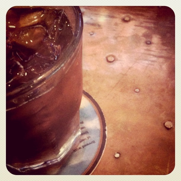 [161/365] Finally happy hour. Bourbon and a copper bar top.