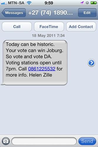 DA election SMS