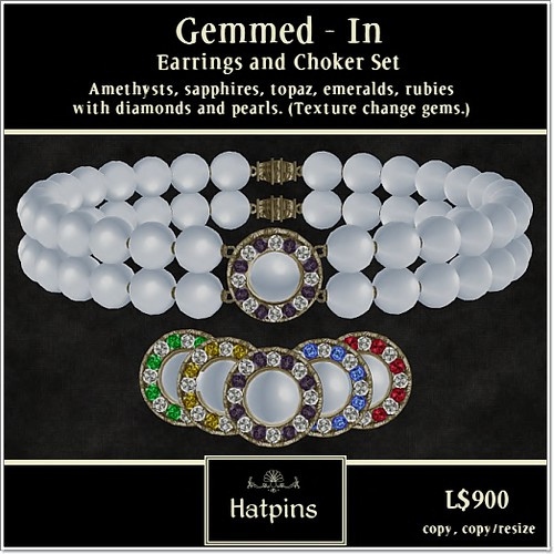 Hatpins - Gemmed-In Set - Multigemmed and Pearl