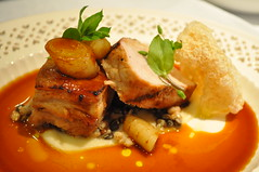 Warm and Hot: 24hr braised Suffolk pork belly & pork cheek, fermented apple sauce