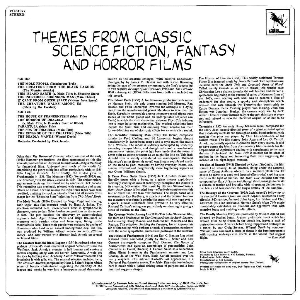 Dick Jacobs - Themes from Classic Science Fiction, Fantasy and Horror Films
