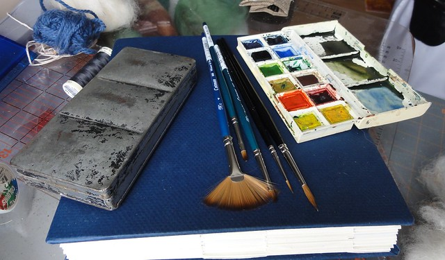 Book, paints and new brushes
