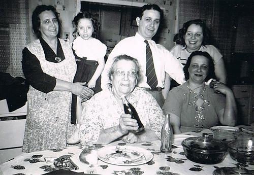 Front row: Anna Matracia/Sansone, and Anna Mercurio. Back row: Mary Demma, Marie Demma, Frank Matracia, and Jody Mercurio (daughter of Anna Mercurio).