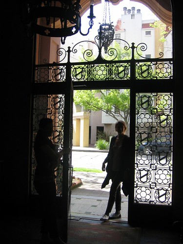 doorway from the lobby to the street