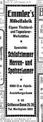 Anzeige Emmler's Möbelfabrik, 1920