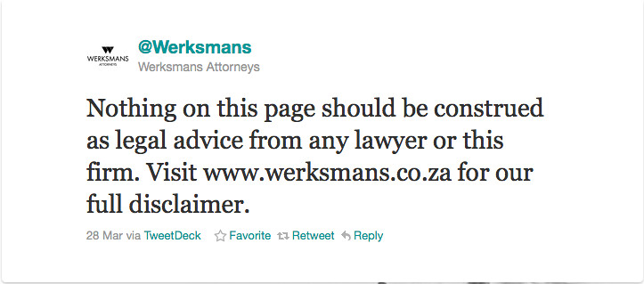 Werksmans tweet about terms and conditions