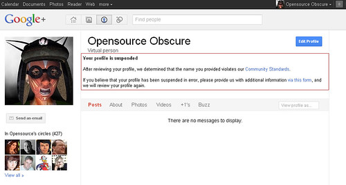 My Google+ Profile has been suspended because I'm using my Second Life avatar identity