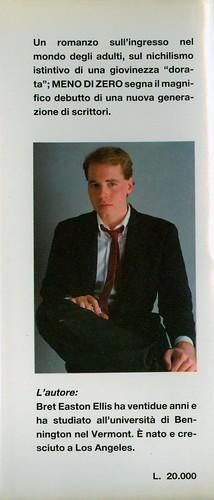 Bret Easton Ellis, Meno di zero. Pironti 1986. Risvolto della quarta di sovracoperta.