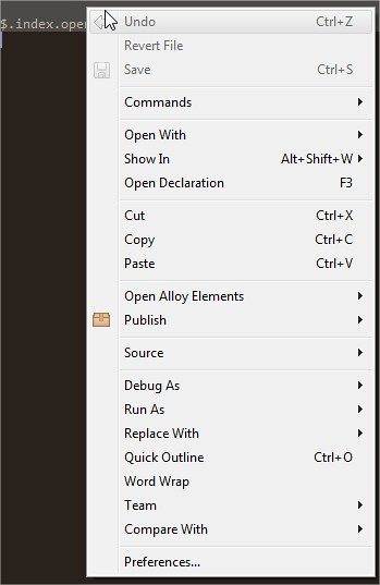Titanium Studio - Right click menu