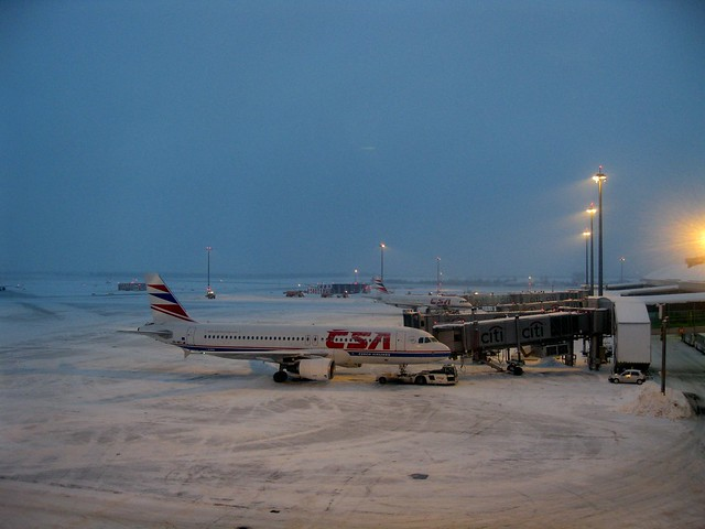 Prague airport under the snow