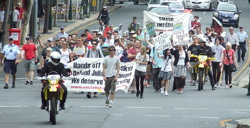 March heads up George St at Elizabeth St - Wikileaks Rally, Reddacliffe Place at Brisbane Square, Brisbane, Queensland, Australia 101218