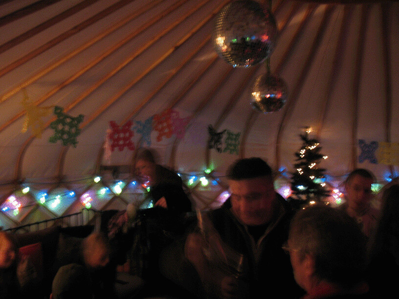 Environmental green volunteers gather in the Yurt at Milgi Bar for the first CF Hub meeting