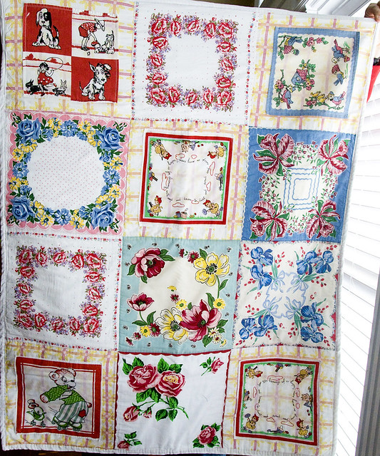 Vintage Hankie Quilt Tutorial, so clever!