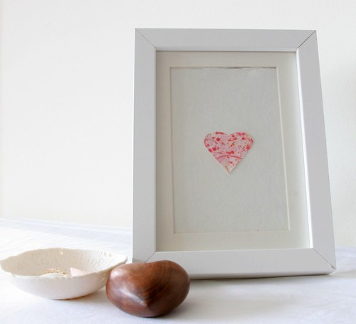 Framed marbled paper heart