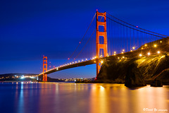 San Francisco Golden Gate Bridge twilight blue...