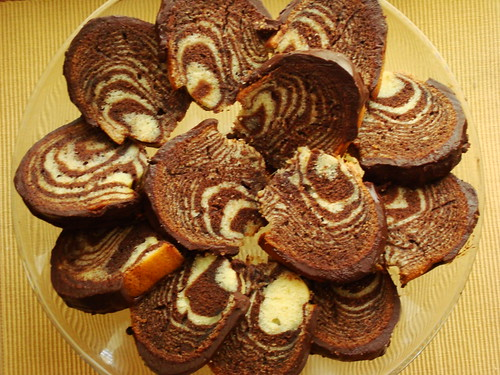 Zebra Bundt Cake sliced