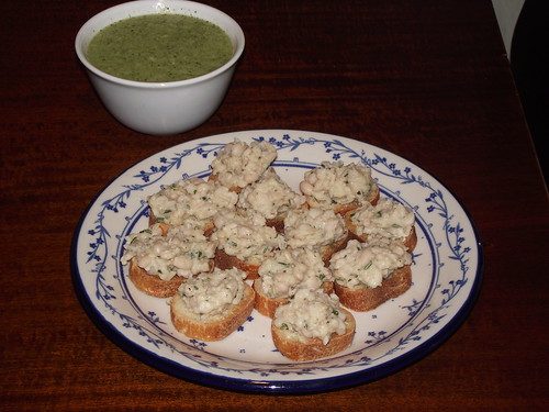 white bean toasts and cucumber soup