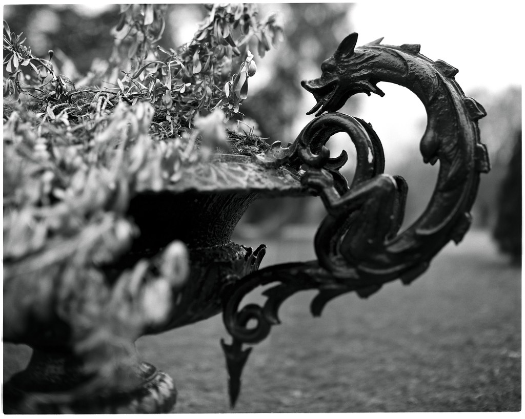 dragon sculpture on a planter