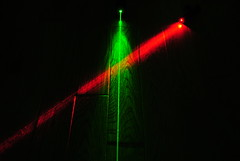 Crossed Red and Green Laser Beams