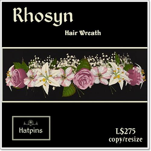 Hatpins Rhosyn Hair Wreath - Pink and White