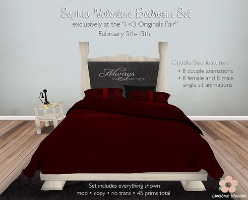 "Sephia Valentine Bedroom Set for ""I <3 Originals Fair"""