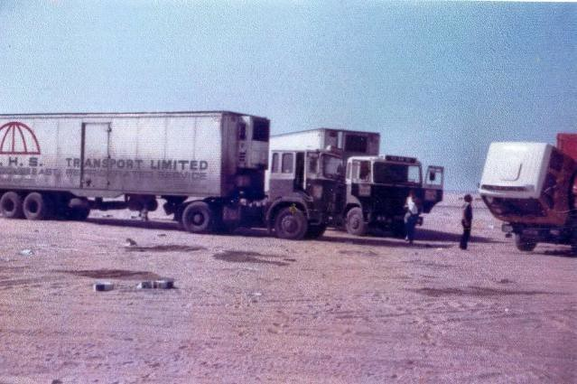 SeddonAtkinson& Dorsey Reefer Trailers carrying chocolate to Kuwait having a rest in the dessert.