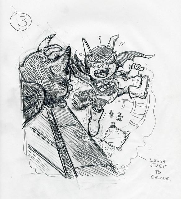 Roger Frames - Batfink and gargoyle - 2nd rough