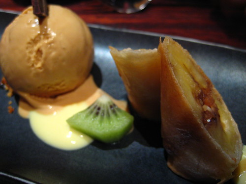 Banana spring rolls with burnt honey ice cream