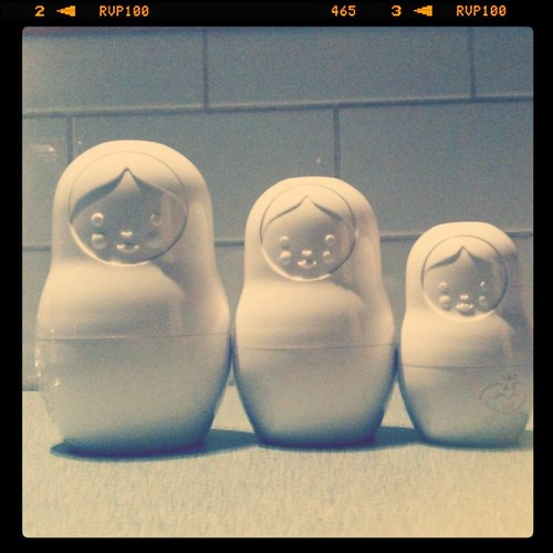 Three little martyoshkas ready to measure