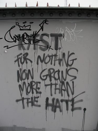Graffiti at railway bridge in Grangetown, Cardiff.