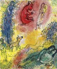 [ C ] Marc Chagall  -  L'Âne rouge dans le cie...