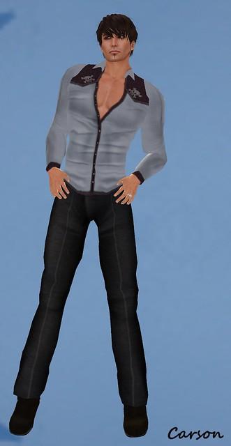 Wilson's Black Pants and Blue Shirt