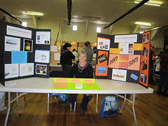 Margaret Critchlow at the Sooke Transition Initiative booth