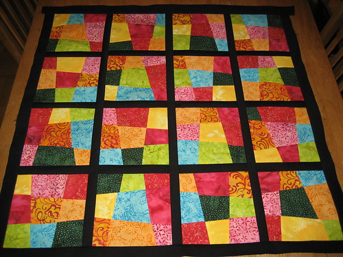 Colourful quilt in progress