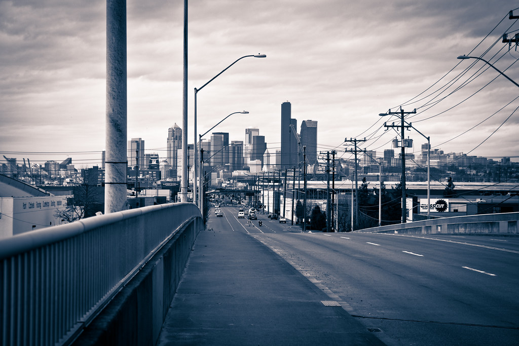 Seattle downtown from the overpass