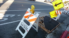 York Blvd. bike corral installation is underway.