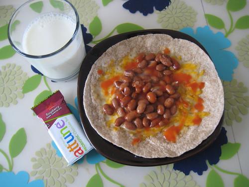 milk, attune, burrito with pinto