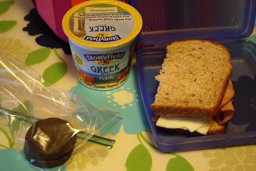 oreos, stonyfield greek style yogurt, ham sandwich