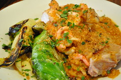 Mains: Chicken and prawn romesco with almonds and hispi cabbage
