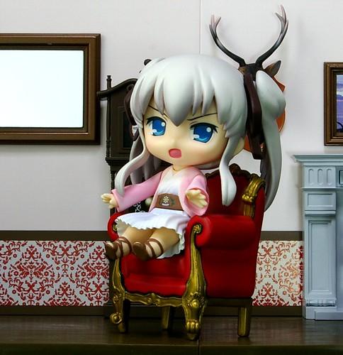 Nendoroid Mabinogi Nao sitting on the chair