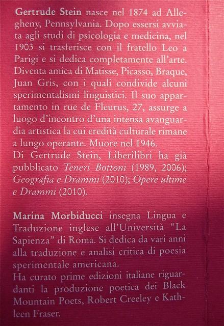 Gertrude Stein, Sollevante pancia, liberilibri 2011, [responsabilità grafiche non indicate]; risvolto della q. di copertina (part.), 1