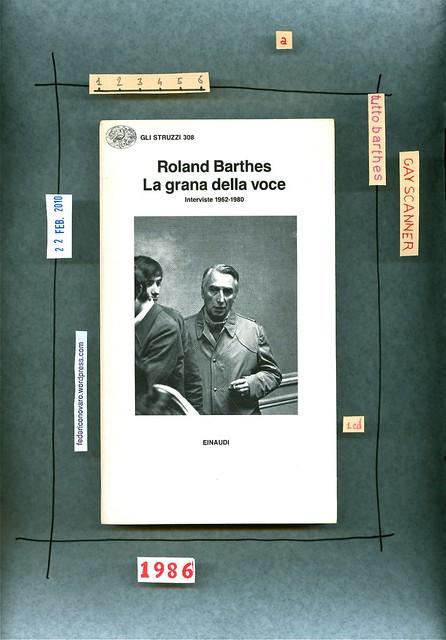 Roland Barthes, La grana della voce. Einaudi 1986. copertina