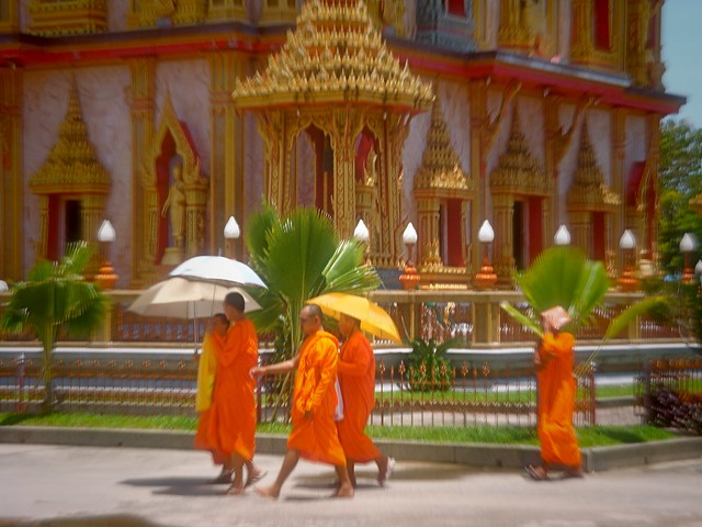 Buddhist Monks Outside Chalong Temple