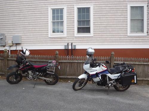 Honda Transalp and the DRZ at Aidan's in Bristol, RI