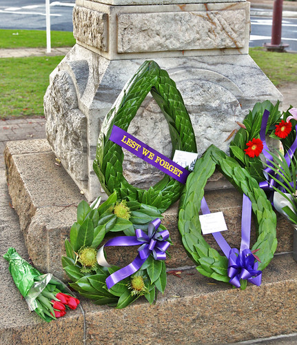Wreaths on ANZAC Day Memorial